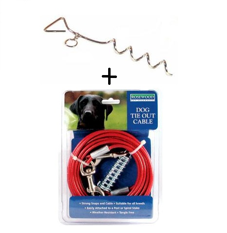 Dog Stake Out Ground Spike & Cable, Tie Ring Secure Anchor For Lead