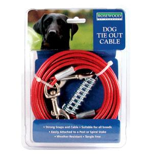 Rosewood Dog Tie Out Cable for Spiral Stake Ground Spike - 15ft